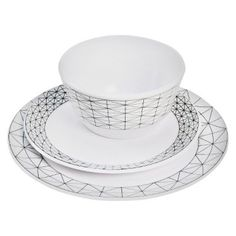 I'm learning all about Room Essentials Thin Stripe Melamine 12-piece Dinnerware Set - White at @Influenster!