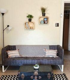 IKEA sofa, crate shelves, coffee table trunk
