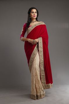 """Add to your closet, this Lace Saree with Red Rani Velvet Pallu.This one is going to make you feel fabulous as a """"Diva"""" Unstitched blouse material included. Saree material: Lace and Velvet Blouse material:lace Note: Net Saree Blouse, Lace Saree, Saree Blouse Designs, Indian Dresses, Indian Outfits, Indian Clothes, Beautiful Saree, Beautiful Outfits, Meena Bazaar"""
