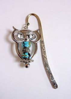 Silver Owl Bookmark Aqua Glass Beaded Bookmark