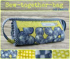 mipamias: Sew-together-bag - die Zweite und der Sew-Along! Sew Together Bag, Sewing Tutorials, Sewing Projects, Messenger Bag, Diaper Bag, Free Pattern, Satchel, Pouch, Tote Bag