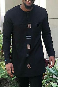 African Fashion Casual Print Stripe Loose Long Sleeves Men's T-shirt Latest African Wear For Men, Latest African Men Fashion, African Male Suits, African Shirts For Men, Nigerian Men Fashion, African Dresses Men, African Attire For Men, African Clothing For Men, Native Fashion