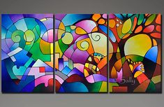 My beautiful original acrylic triptych painting Daydream, a geometric abstract landscape painting, 36x72 inches, 1.5 inches deep, geometric abstract paintings on three 24x36 inch canvases, sides painted black. Made-To-Order. ●●●MADE-TO-ORDER●●● This is a Made to Order painting