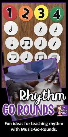 Great ideas for using Music-Go-Rounds to teach rhythm.  Use them in centers, to decode song notation, with body percussion and more!