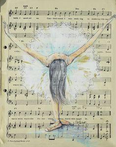 "Saatchi Online Artist: Sara Riches; Acrylic 2013 Painting ""Painted Dancer""#art #ballerina"