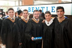 Bentley undergraduate students pose for a picture before the ceremonies.