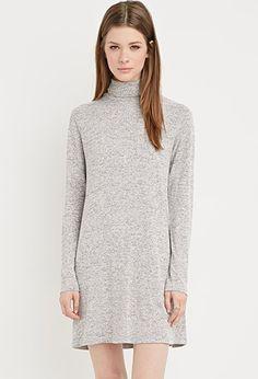 Heathered Turtleneck Shift Dress   Forever 21 - 2000140483