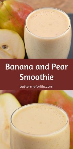banana and pear smoothie aids in digestion and the fiber will help you feel fuller longer, helping with weight management. Find the recipe on Protein Smoothies, Smoothies Banane, Smoothie Proteine, Apple Smoothies, Yummy Smoothies, Healthy Protein, Smoothie King, Whey Protein, High Protein