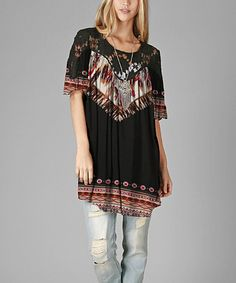 Black & Red Feather Lace-Shoulder Tunic - Plus #zulily #zulilyfinds