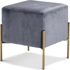 Meridian Furniture Isla Ottoman Stool Grey Velvet on Gold Stainless Steel Legs Ottoman Footstool, Fabric Ottoman, Tufted Ottoman, Ottomans, Grey Ottoman, Swivel Armchair, Upholstered Bench, Living Room Furniture, Modern Furniture