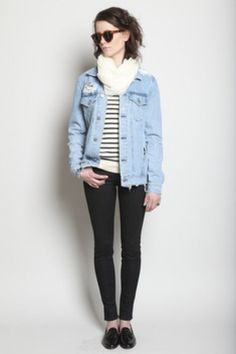 The ubiquitous jean jacket.  When I was 19, it would have been secondhand, beat up, with TONS of pins on it.