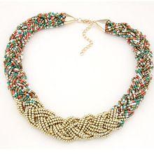 Nueva moda Bohemia color de la mezcla colgante cadena de cuentas de collar collar mujeres gargantilla collar joyería venta al por mayor 2015(China (Mainland))
