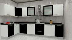 High Quality Popularity Of L Shaped Modular Kitchen Designs: Black And White L Shaped Modular  Kitchen Designs Part 3