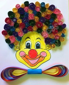 Quilling clown craft - Diy And Home Kids Crafts, Clown Crafts, Circus Crafts, Carnival Crafts, Preschool Crafts, Projects For Kids, Diy And Crafts, Arts And Crafts, Arte Quilling