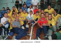 PRINCESS DIANA MEETING THE VOLLEYBALL TEAM THAT IS COMPRISED FROM VICTIMS OF LANDMINES.
