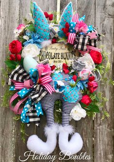 A personal favorite from my Etsy shop https://www.etsy.com/listing/578679790/easter-wreath-easter-bunny-wreath-easter