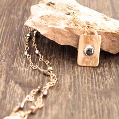 """Gold Filled Pendant Necklace, Hematite Stone Necklace, Gold Filled Chain, """"Dog Tag"""" Necklace, Hematite Chain Necklace, Rectangle Pendant by ShillyShallyjewelry on Etsy"""