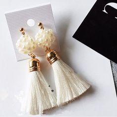 2016 New Fashion Tassel Cute Royal Simulated Pearl Jewelry Dangle Earrings Long Tassel Earrings For Women Pendientes ED075
