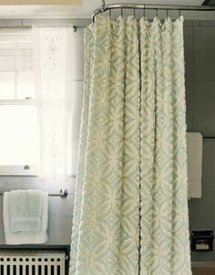 chenille bedspread as shower curtain