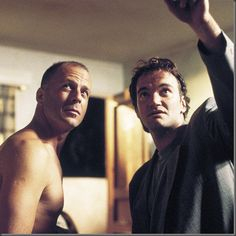 "Bruce Willis and Quentin Tarantino beind the scenes, ""Pulp Fiction"" 1994."