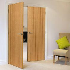 JB Kind River Oak Cottage Cherwell Flush Door Pair - Prefinished. #doubleoakdoors #internaloakdoors #jbkdoubledoors