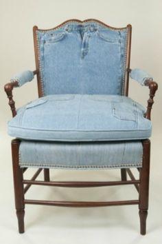 denim upholstered chair