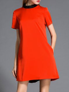 #AdoreWe NATURAL HOUSE Paneled A-line Short Sleeve Simple Mini Dress - AdoreWe.com