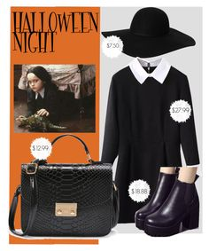 """Halloween  Night with Wednesday"" by crissg4 on Polyvore featuring Monki and WithChic"