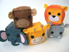 Felt block animals. These are adorable and look easy to made! (Made these for a little friend. I tried using glue to attach the eyes, etc., but that did not hold. I ended up having to take them apart and sew on all the little details. Such cute little blocks.)