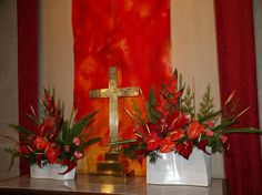 Flowers for Pentecost | Altar hanging and flowers.