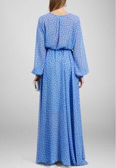 Vestido longo azul de manga comprida fluído estampa poá Powerlook - powerlook-V-MOB