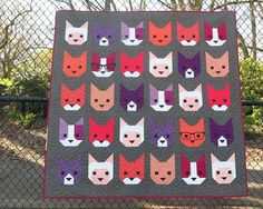 The Kittens quilt designed by Elizabeth Hartman. Features Rhoda Ruth by Elizabeth Hartman and Kona Cotton and Essex Yarn Dyed.