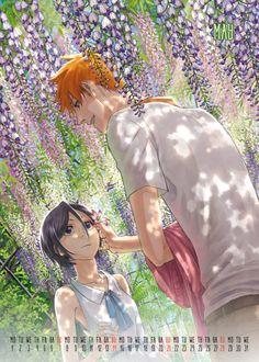 Magical May by our magical Kurokuoska Ichigo Y Rukia, Rukia Bleach, Clorox Bleach, Bleach Fanart, Bleach Anime, Calendar 2017, Anime Characters, Fictional Characters, Character Art