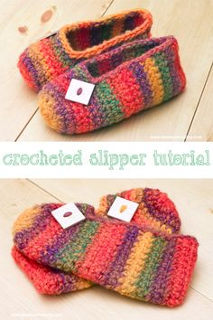 Crochet Pattern: Rainbow Striped Slippers: Make a cozy pair of crocheted slippers with this quick and easy rainbow striped slipper tutorial! Easy Crochet Slippers, Crochet Slipper Pattern, Kids Slippers, Crochet Socks, Felted Slippers Pattern, Crochet Clothes, Crochet For Kids, Free Crochet, Crochet Granny