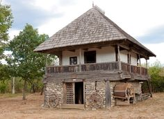 """Traditional houses in rural Romania (case traditionale romanesti) *** Upon arriving in her new home country in the young wife of Prince Carl of Romania noticed in her writings: """"Every R… Village House Design, Village Houses, Vernacular Architecture, Architecture Design, Petits Cottages, Cob House Plans, Rural House, Cabins And Cottages, Stone Houses"""