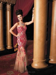 Tulle Sweetheart Floor-length Sheath/Column Appliques Prom Dresses -NZD$245.59
