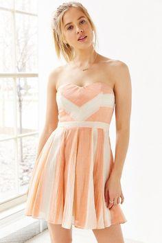 Kimchi Blue Awning Stripe Strapless Dress