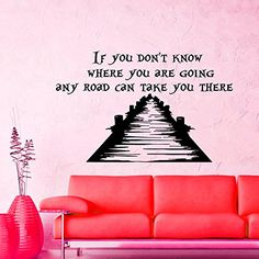 Wall Decals Vinyl Sticker If you don't know where you are going Cheshire Cat Sayings Quote Alice in Wonderland Quotes Kitchen Nursery Baby Kids Children Room Decal Home Decor Murals Bedroom Studio Dorm: Amazon.co.uk: Kitchen & Home