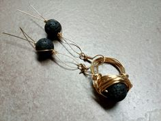 #223 Brass lava earrings and ring / σκουλαρίκια ορείχαλκου και δακτυλίδι με λάβα