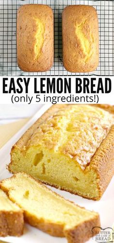 Easy Lemon Bread is moist, full of lemon flavor and made with only five ingredients! This lemon bread recipe is easy to make and is soft and delicious! lemon quickbread lemonbread bread yummy is part of Easy lemon bread - Köstliche Desserts, Lemon Desserts, Lemon Recipes, Delicious Desserts, Dessert Recipes, Yummy Food, Brunch Recipes, Quick Bread Recipes, Cake Mix Recipes