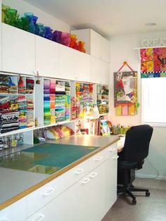 SpringLeaf quilting studio - Look at the rainbow vases, ain't they amazing? (The whiteness of the room looks like it would be inspirational since it is a blank canvas!)