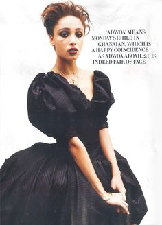 Up-and-coming modeling talent Adwoa Aboah wearing a blouse and skirt from our Gold Label AW13/14 collection in the July 2013 issue of Tatler.