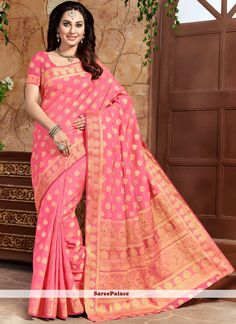 Shop online for sarees and wedding sarees. Buy this art silk pink weaving work designer traditional saree. New Saree Designs, Latest Sarees, Traditional Sarees, Pink Art, Indian Beauty Saree, Exclusive Collection, Saree Wedding, Sarees Online, Belly Dance