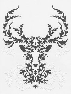 Paper Gray Deer handmade papercut poster by Papercutout on Etsy. $50.00