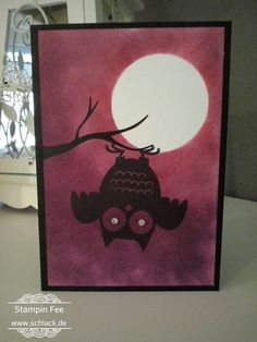 stampin Halloween howl - o - ween Card owl moon eule Mond karte