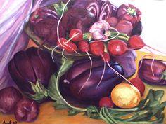 Purple Still Life Painting by  Assaf Shtilman