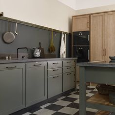 Cool Classic kitchen from Kvanum in the colour Forest Green painted on ash Grey Kitchen Floor, Gray And White Kitchen, Grey Kitchen Cabinets, Kitchen Flooring, Apartment Kitchen, Kitchen Interior, Kitchen Decor, Kitchen Design, Grey Kitchens