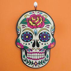 """Placa Decorativa MDF Caveira Mexicana Floral - 39x27cm - Placa decorativa com base em MDF 3mm e estampa colorida e frase temática. Desenho cortado a laser. Desenho: """"Caveira Mexicana Floral"""" Tamanho39x27cm"""