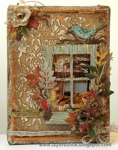 Layers of ink - Autumn Burlap Panel Tutorial by Anna-Karin, for the Tim Holtz Media Team, with Sizzix dies, stamps and stencils from Stamper's Anonymous and more.