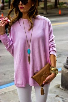 I adore everything about this outfit. clothes, colors, jewelry, bag, glasses. Summer or spring.